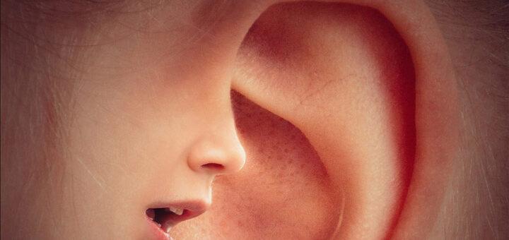 Billedet viser et øre. Siden handler om lydfølsomhed, der ødelægger hendes liv.
