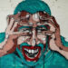 Maleri af en skræmt mand. Fotoet er af Aaron Blanco Tejedor.
